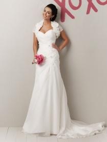 Glamorous Organza Strapless Sweetheart Spring Wedding Dress 2012 with Bolero Jacket
