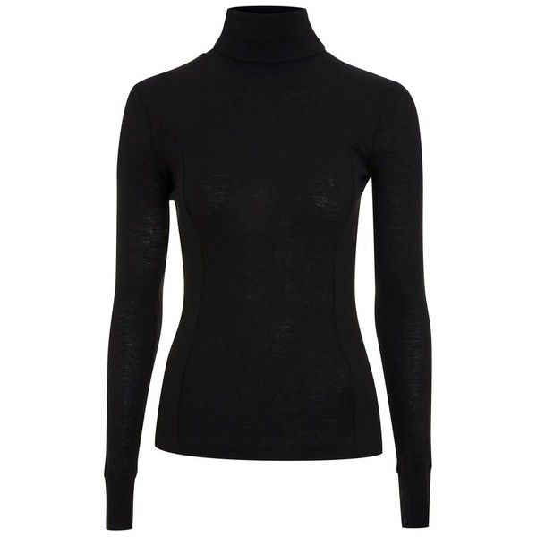 Women's Topshop Boutique Wool Turtleneck Sweater ($68) ❤ liked on Polyvore featuring tops, sweaters, black, woolen tops, double layer top, wool turtleneck, wool sweater and layered sweater