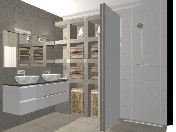 Strakke, maar toch landelijke badkamer met nissen, inbouwkranen, natuursteen en opbouw kommen. een ontwerp van PUUR! Sanitair en Tegels