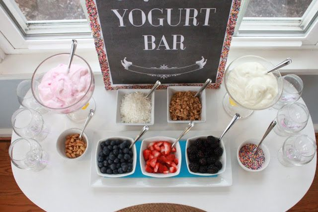 Have a yogurt bar at your next party breakfast or brunch - sweet idea for senior sunrise or mother's day brunch or afterschool study group gathering - also perfect idea for make-ahead buffet for bridesmaid brunch or wedding shower