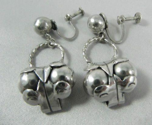 Art Deco Vintage Mexican Sterling Silver Spratling Cocos Design earrings pre 1948.