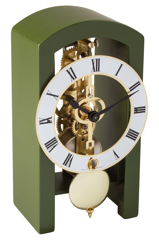 Hermle PATTERSON Green Mantel Clock 23015-S50721 - Arched wooden case Made in Virginia featuring a mechanical time only movement.