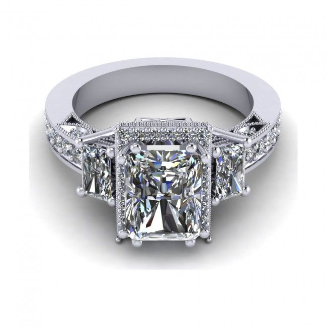 3 12ct radiant cut engagement ring available in 14k 18k