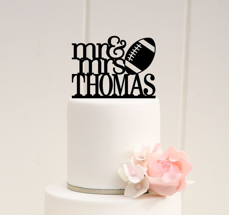 Mr and Mrs Football Wedding Cake Topper with YOUR Last Name - Football Cake Topper by ThePinkOwlGifts on Etsy https://www.etsy.com/listing/246258925/mr-and-mrs-football-wedding-cake-topper