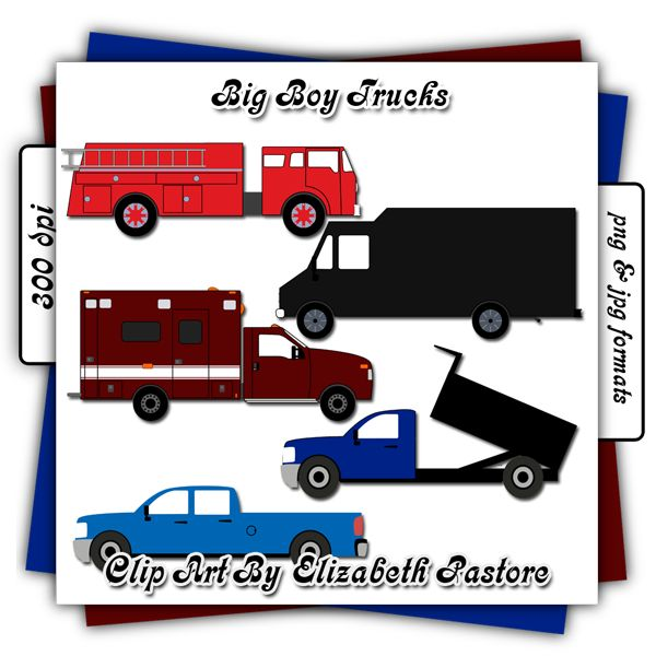 Big boys trucks clip art collection consist of 5 trucks. A fire truck, a box truck, a dump truck, a ambulance, and a every day truck.