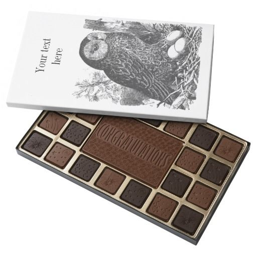 Retro brooding owl drawing assorted chocolates