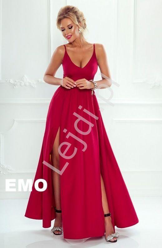 5a921a612a Wieczorowa sukienka na cienkich ramiączkach z dwoma rozporkami na spódnicy.   dresses  reddress