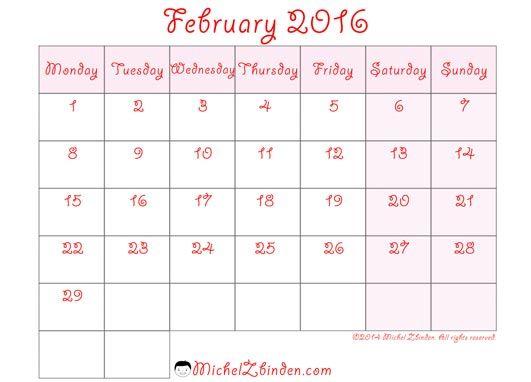 February 2016 Calendar Philippines