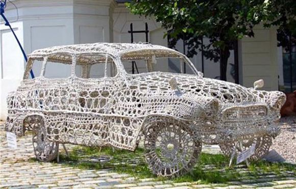 crochet_doily_art_car. Sorry. I don't think any directions came with this one.   ¯\_(ツ)_/¯