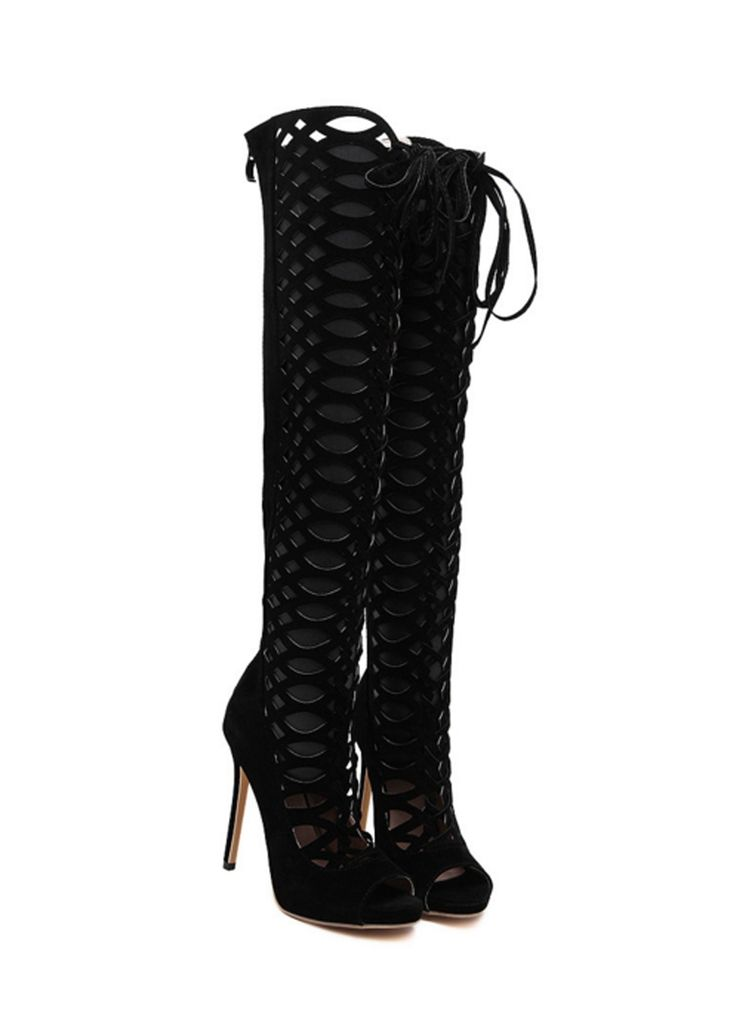 Black High Heel Women Summer Style Knee Boots _Women Shoes_Sexy Lingeire | Cheap Plus Size Lingerie At Wholesale Price | Feelovely.com