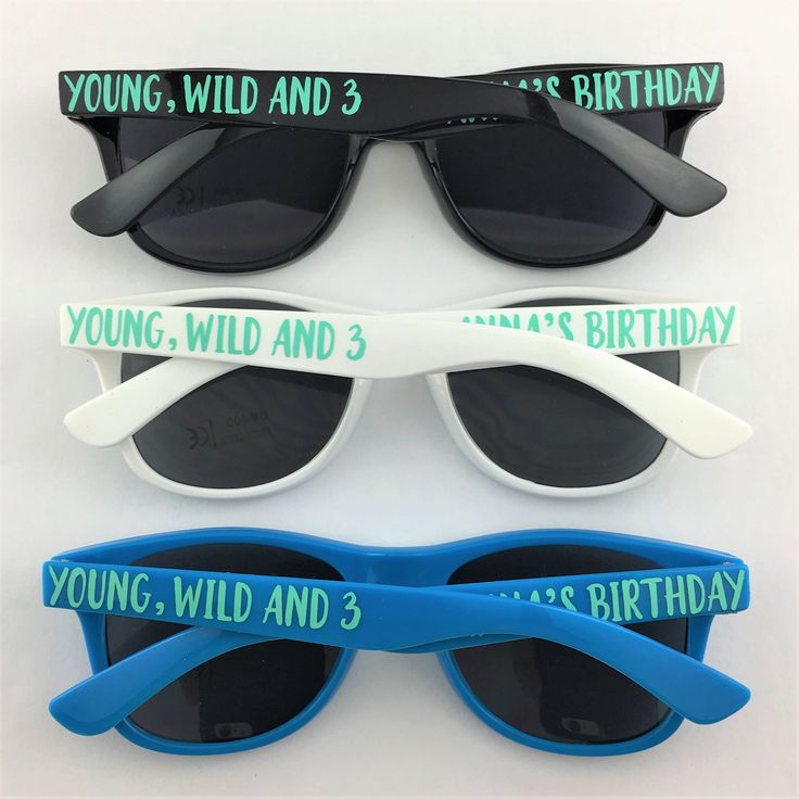 Young, Wild and Three KIDS Personalized Sunglasses, Third Birthday Party Favors,…