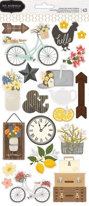 Pebbles - Jen Hadfield Simple Life - Cardstock Stickers (2 sheets)