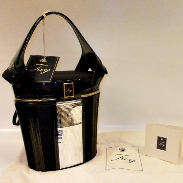 Fay riga verti sfilata borsa mano handbag secchiello nero platino - borse a mano bauletti - borse - Donna - Negozio Online - danystore
