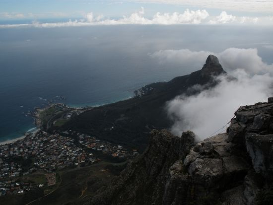 View of Lion's head from Table Mountain, Cape Town