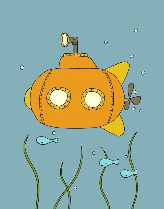 Submarine Nursery Art Little Submarine por SweetMelodyDesigns