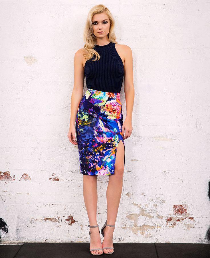 Midnight Bloom Midi Skirt - PRE ORDER - Bardot
