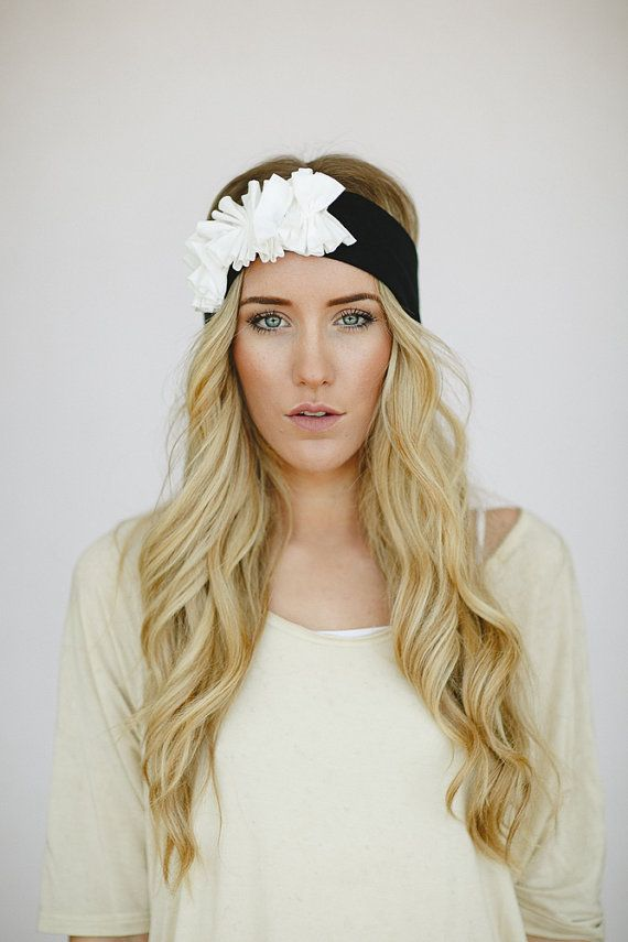 Jersey Flower Headband Women's Bohemian Hair Bands Boho Chic Black Jersey Turban with Ivory Flower Cluster Hair Accessories (HB-58) on Etsy, $28.00