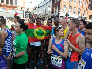 Oromo Athlete Guddinaa Dabalee, #Oromia, as he wins run for Leads 10km, UK. 14th July 2013