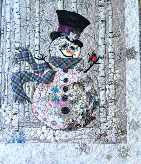 MarveLes SIR FROSTY QUILT Wallhanging  Floral Snowman Christmas Woodsy Aspen Birch Tree White Plaid