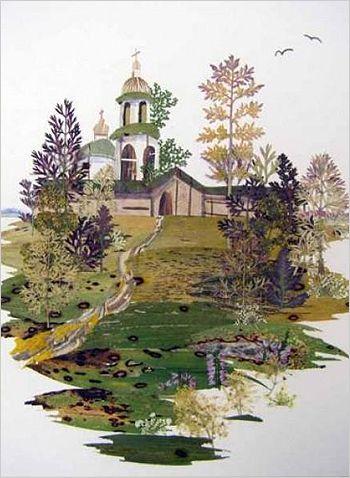 Ошибана картина из цветов и листьев