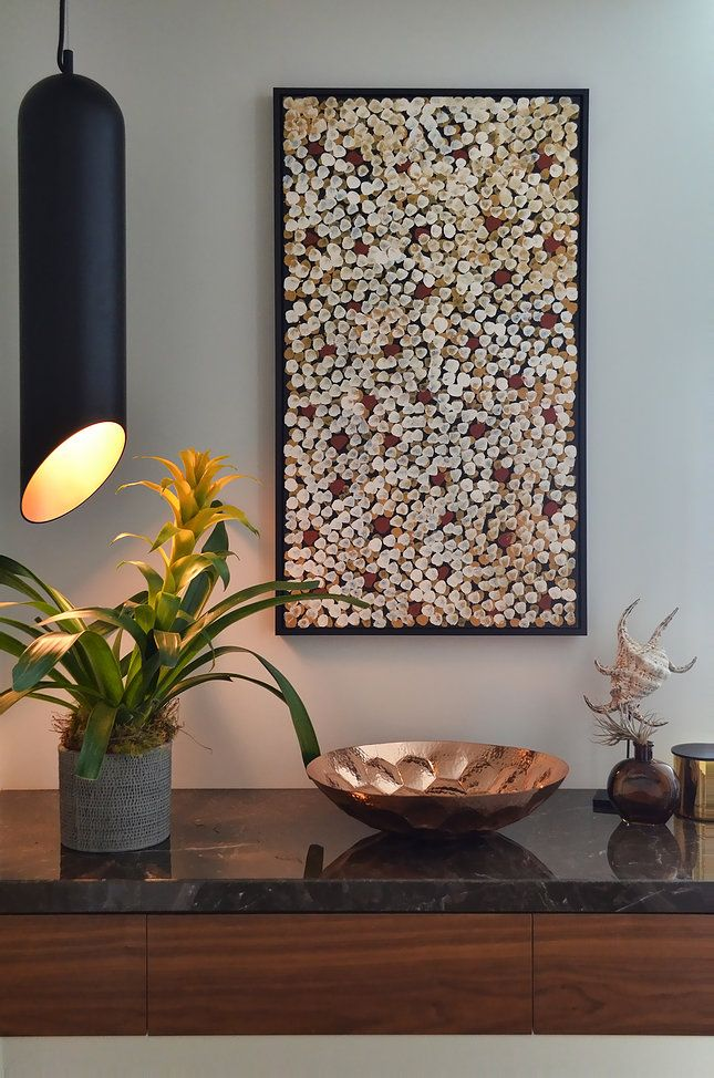 Circular Quay Harbour Apartment - Swan Studio Interior Design | apartment entry console table australian indigenous aboriginal art matt dixon pendant