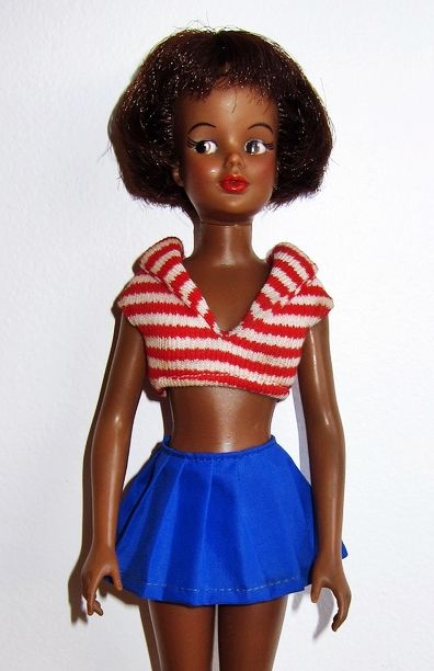 "12"" vinyl Grown Up Tammy doll, the slimmer and less child-like version of the earlier dolls, with new neck and head assembly, rare black version, United States, 1965, by Ideal Toy Corp. The new body style used for this doll resembles that of Tammy's more glamourous girlfriend Misty, but curiously is actually a wholly different body mold still retaining less shapely breasts and having a more girlish waist and hips."