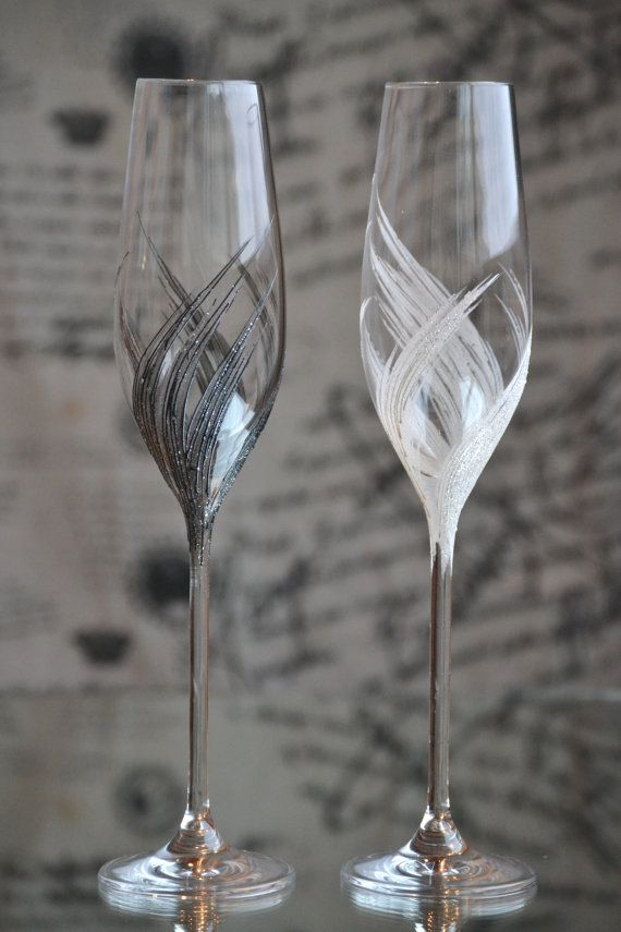 Wedding champagne glasses Champagne flutes hand by PolinikaGlass