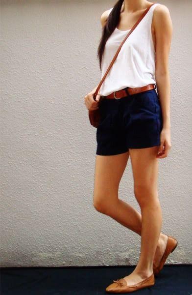 navy shorts + white tank + brown belt + brown shoes