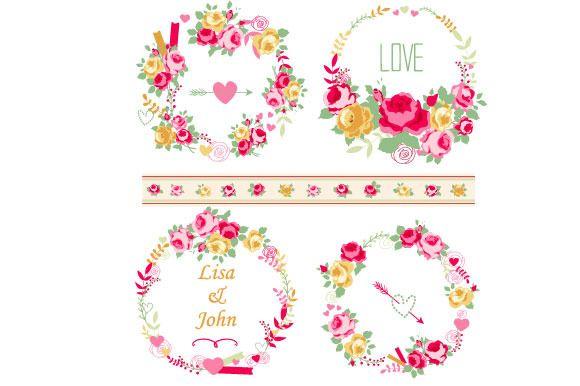 Shabby chic roses wreaths set by Digital art shop on Creative Market