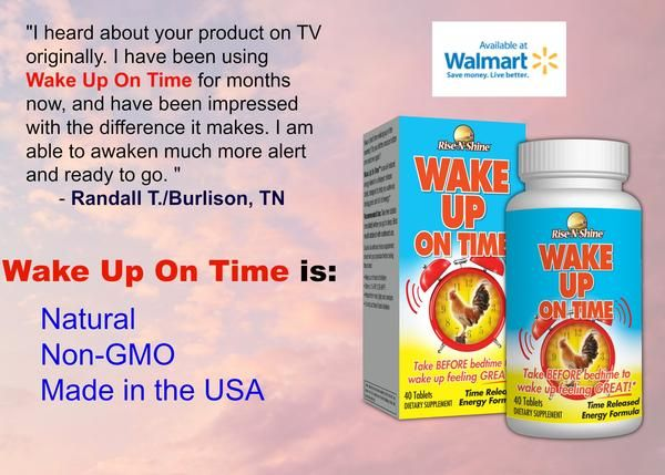 Wake Up On Time is natural, non-GMO and made in the USA! It's available in Walmart locations nationwide! #risenshine #wakeupontime #wakeup #energy #vitamins #aminoacids #herbs #natural #nongmo #madeintheusa #madeinamerica #madeinusa #walmart #testimonialcustomer #testimony #review #feedback