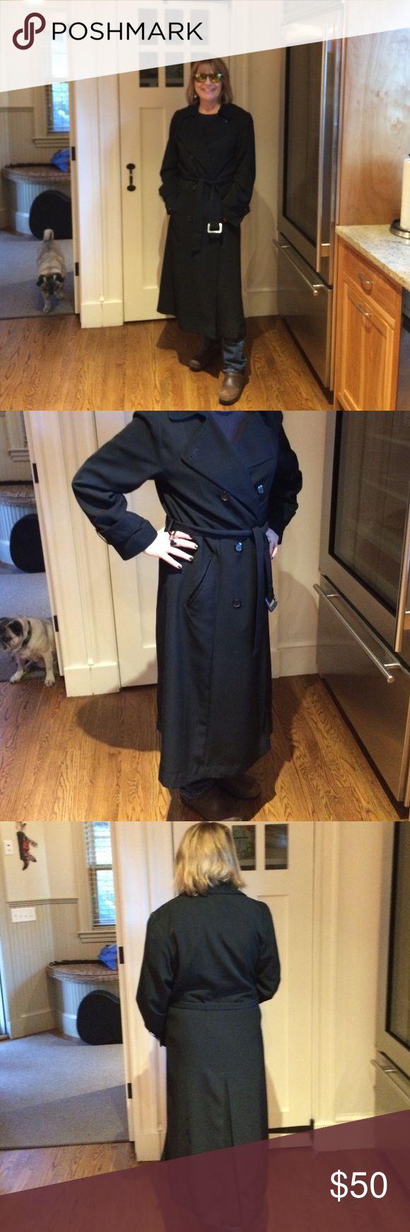Black full length women's rain coat Double breasted , belt included, side pockets black womens rain coat. Gallery Jackets & Coats Trench Coats