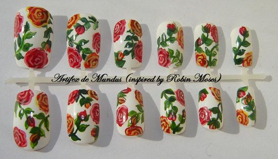 Handpainted Fake/False Classy/Spring Nails Inspired by Robin Moses (red and yellow roses on a white background) on Etsy, $12.70