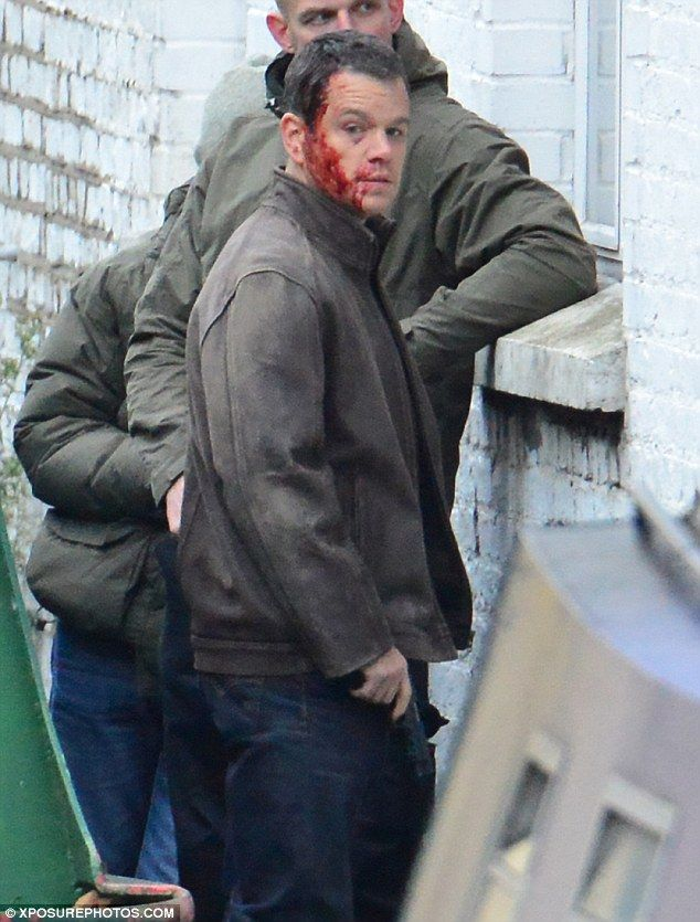 He's well red: Matt Damon was seen covered in fake blood with a huge wound on his head as filming commenced on the fifth Bourne movie in London on Wednesday