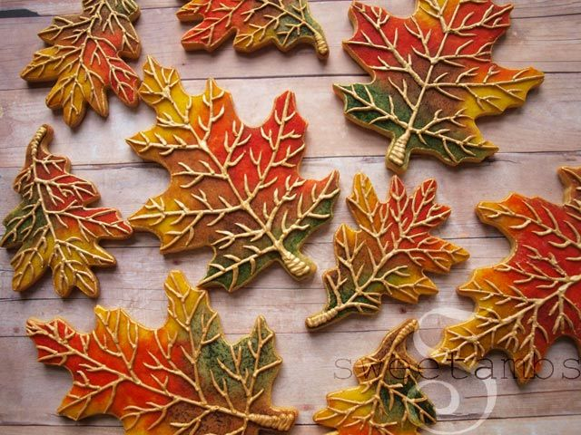 Fall leaf cookies. First you watercolor paint them then draw in the details. tutorial, video
