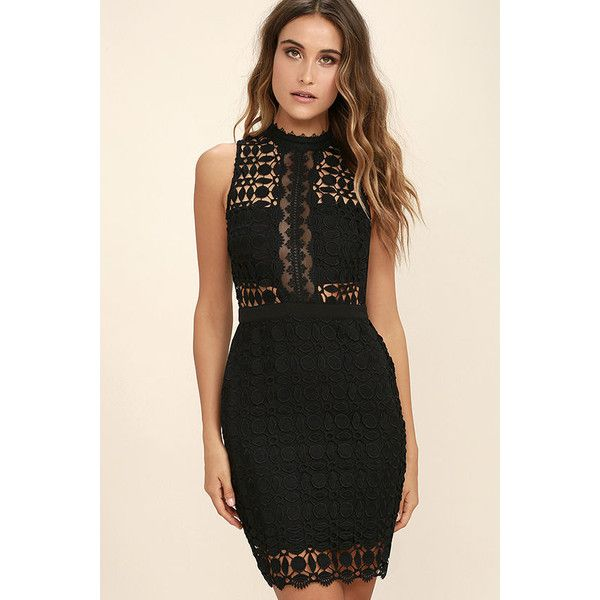 ASTR the Label Vivian Black Lace Bodycon Dress ($103) ❤ liked on Polyvore featuring dresses, black, bodycon cocktail dress, metallic cocktail dress, metallic bodycon dress, bodycon dress and lace dress