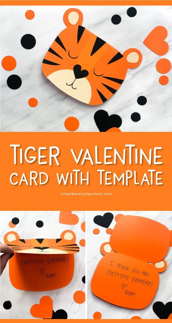 Cute Tiger Handmade Valentine Card Free Template Valentines For Kids Valentine S Cards For Kids Valentines Cards
