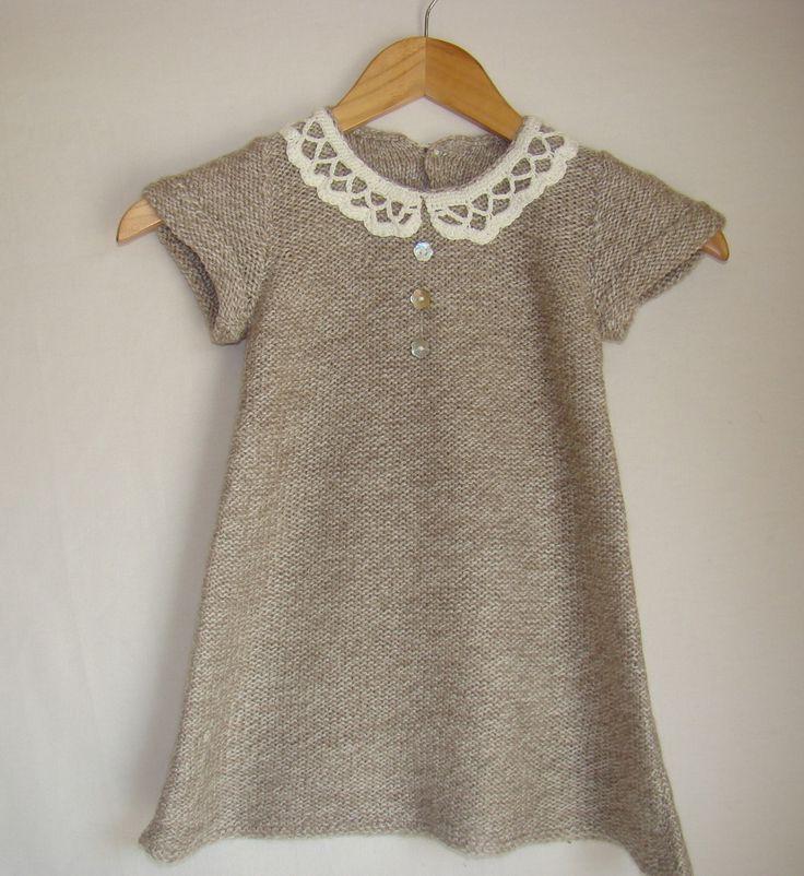 robe tricot e en point mousse avec col claudine crochet. Black Bedroom Furniture Sets. Home Design Ideas
