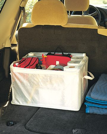 Stock it with paper towels, a first-aid kit, auto fire extinguisher, duct tape, flat-repair kit, bungee cords, and a bag filled with flares, jumper cables, and other necessities. Also consider packing a messenger bag with bottled water, granola bars, a blanket, and warm clothing, in case of a breakdown.