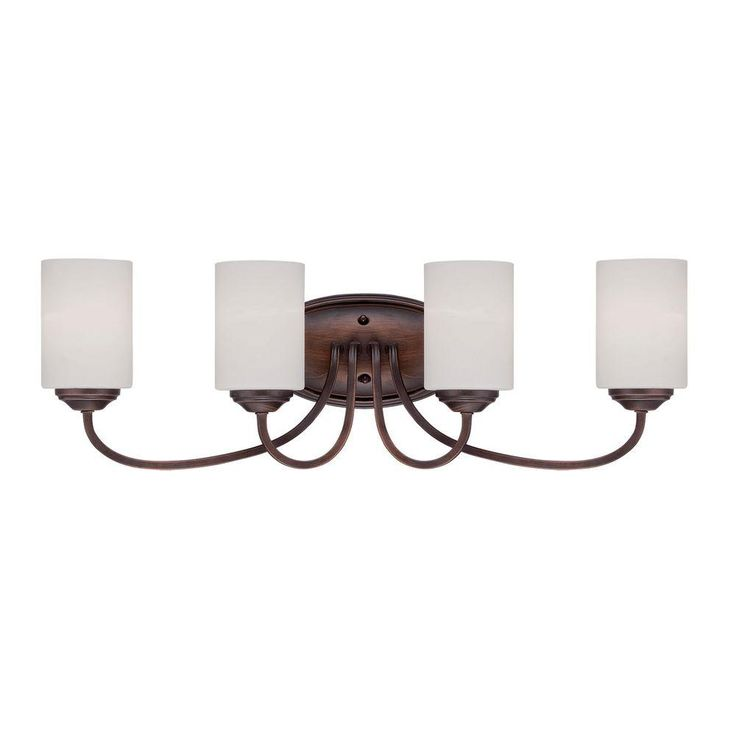 The Awesome Web Millennium Lighting Light Rubbed Bronze Vanity Light with Etched White Glass Bathroom LightingBathroom VanitiesVanityBronzeHome DepotGlassWall