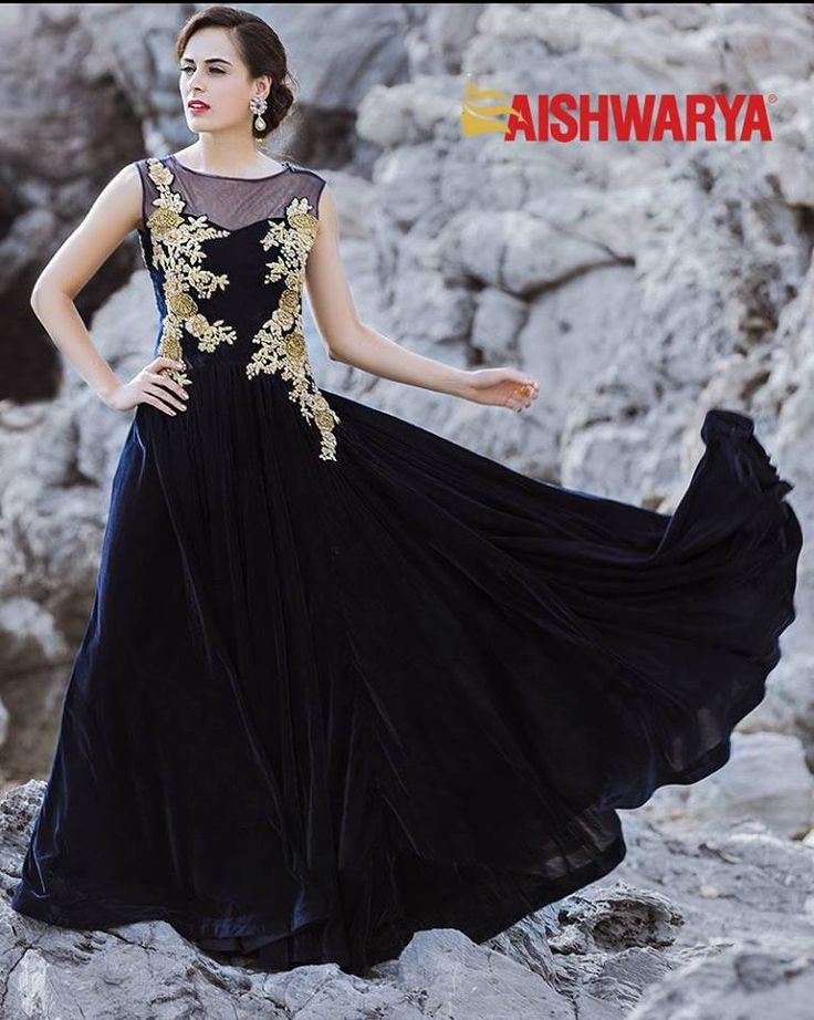 Delicate embroidery is the big thing this season and we have embraced that in our latest collection of stunning gowns! Buy gown online - http://www.aishwaryadesignstudio.com/fascinating-navy-blue-designer-gown