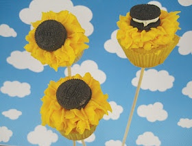 Sunny Sunflower with Oreo Center  (Cupcake on a stick--- I'd dye stick green with food color to make it like a stalk)