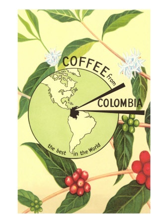 Coffee from Colombia, Map, Berries .