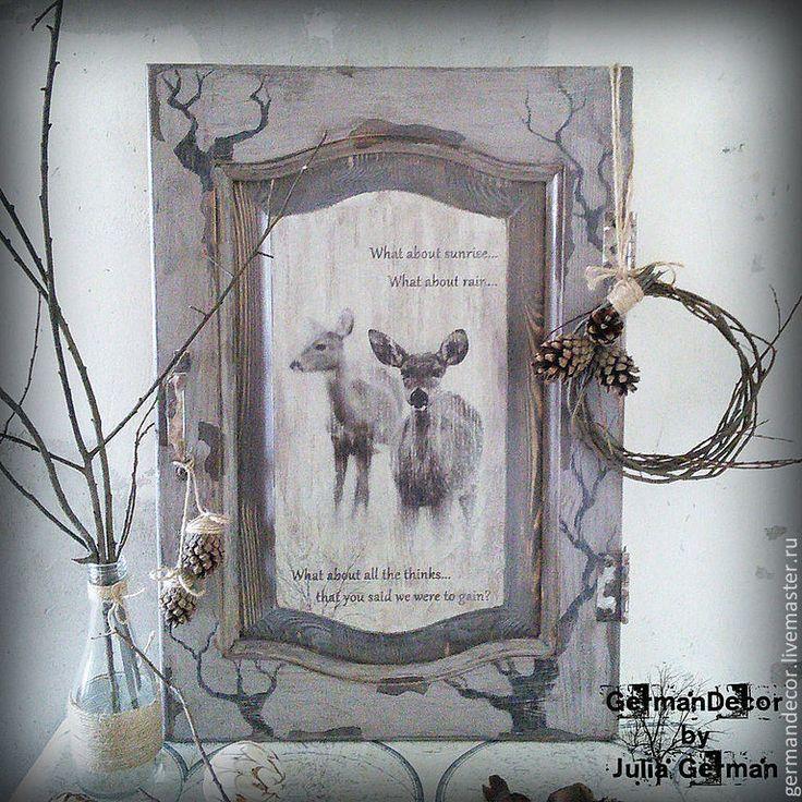 """Панно """"Дверь в природу"""" - серый, панно, панно декупаж, украшение для интерьера, природа"""