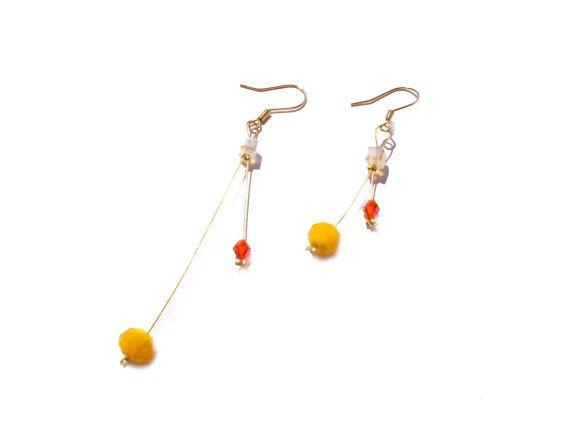 Handmade Dangle Earrings Beadwork with Yellow by twolittlefairies