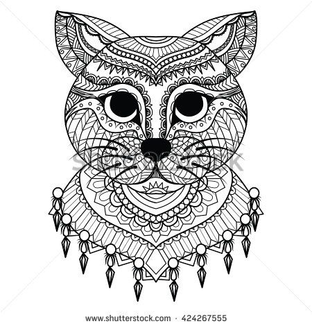 Clean lines doodle art of cute cat for coloring book for adult, cards, T- Shirt graphic and so on - stock vector