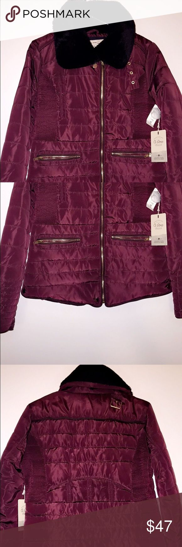 Maroon Coat/Jacket. Size Large The cutest maroon jacket. Great for chilly weather. NEVER WORN. The sides stretch and gives you a great looking shape to your mid section. Size large. Jackets & Coats Puffers