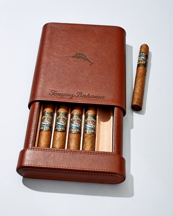 Leather Telescopic 5-Cigar Case: