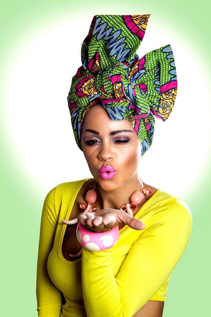 African Fashion Head Wrap | Vibrant Green & Pink African Print Head Wrap