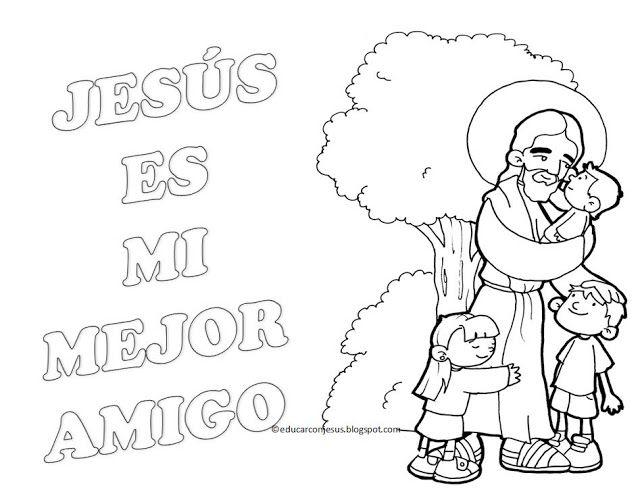 PARA COLOREAR: Jesús con los niños para colorear