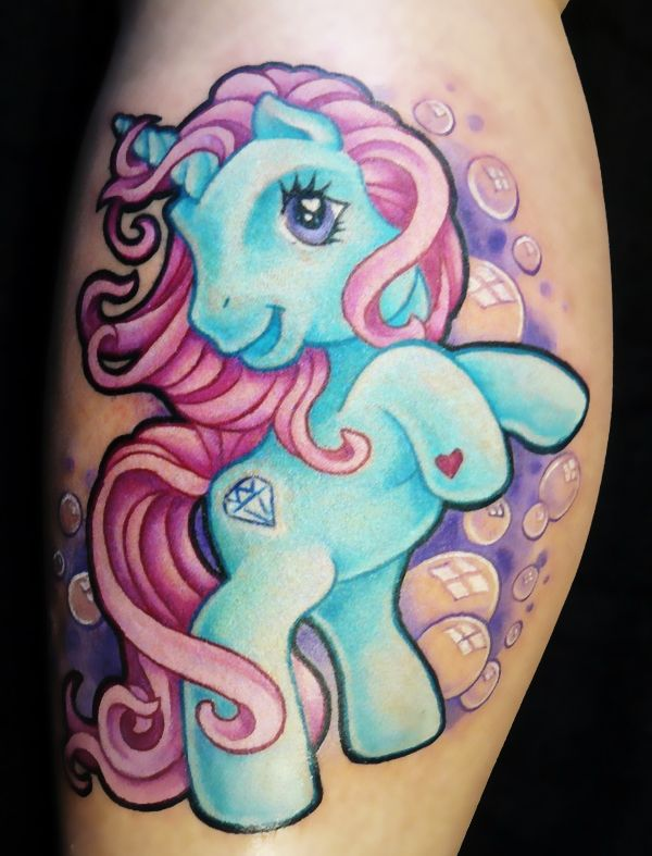 "KNS: MLP tatt! ""Good"" of g/b MLP tatts. Diff cutie mark and colors though, but keep bubbles and ""unicorn"" horn."